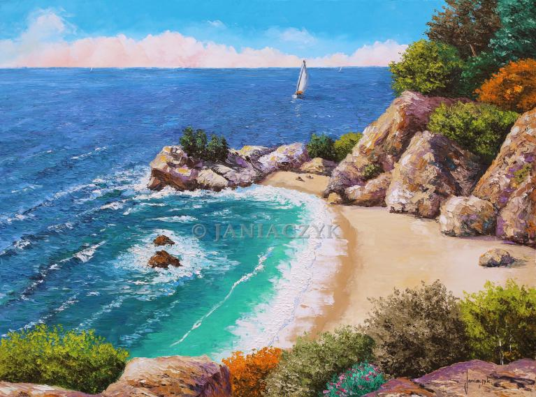 Beach of the cove painting  60x80 cm