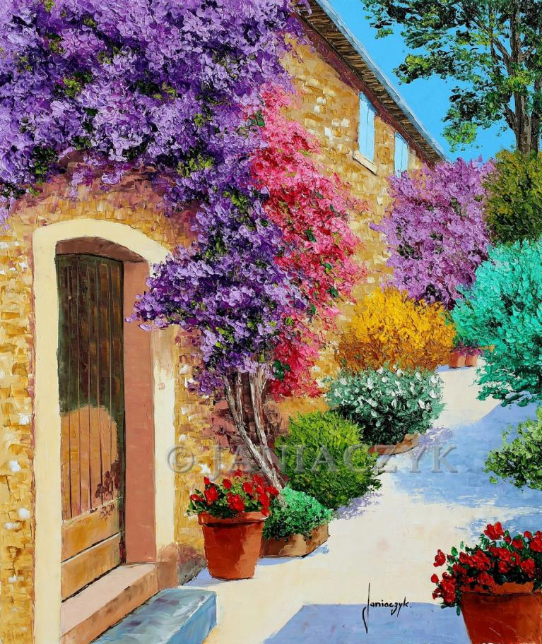 Bougainvillea in Bormes les Mimosas painting 55x46 cm