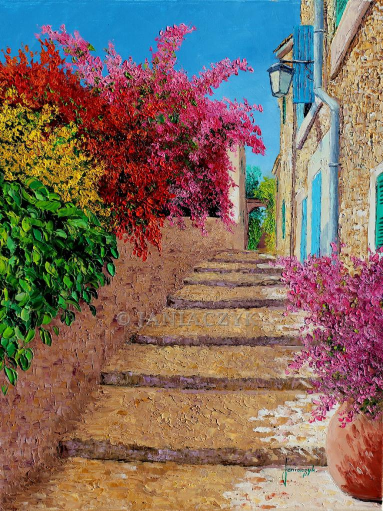 Stairs in the shade of the bougainvillea painting 55x46 cm