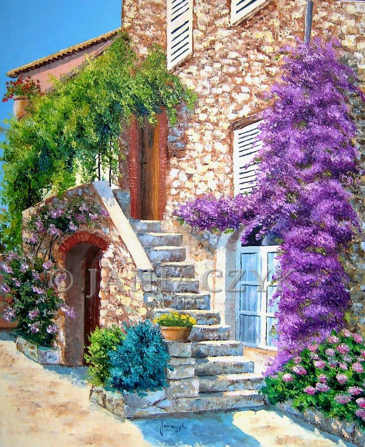 Stairway in Saint Paul de Vence painting