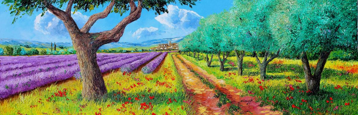olive trees and lavender painting 30x90 cm