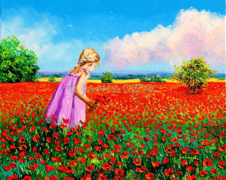 Little girl gathering poppies painting 46x55 cm