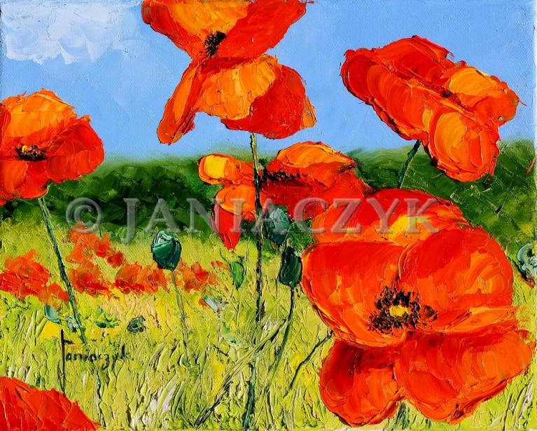 Poppies painting 24x30 cm