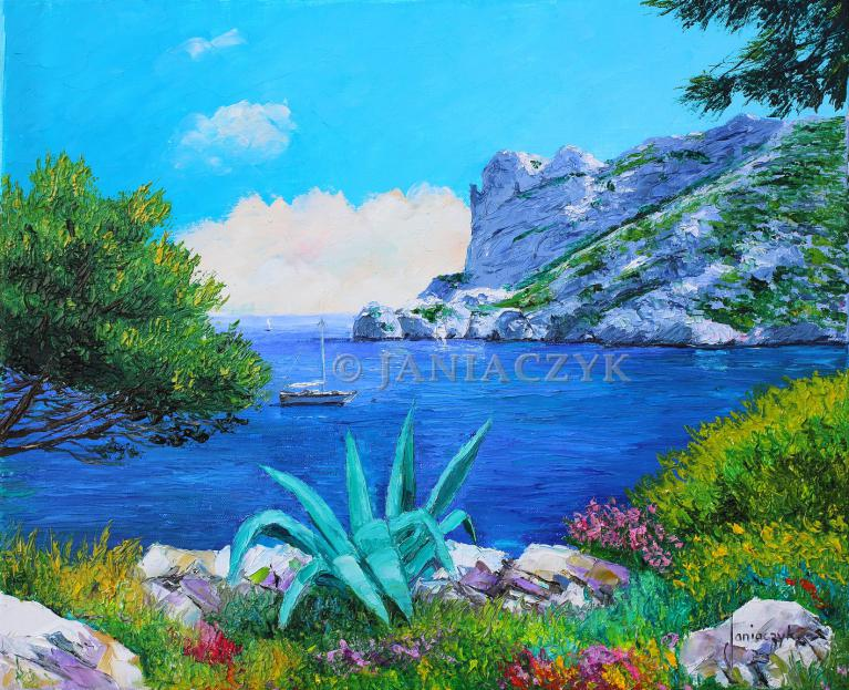 The ridge of Sormiou painting 46x38 cm