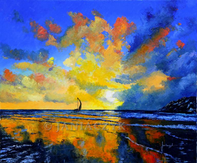 Sail under sunset painting 54x65 cm