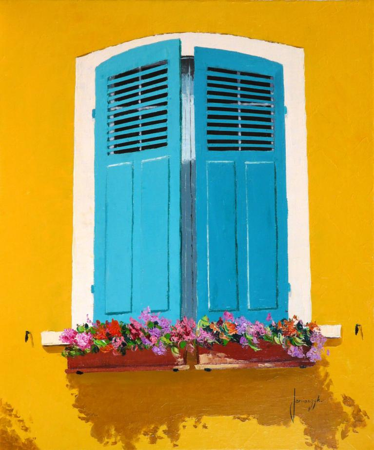 Blue-green shutters painting